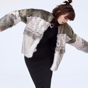 Zara Faux Fur Multi Grey Coat